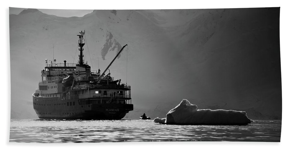 Adventure Bath Sheet featuring the photograph Antarctican Expedition 2013. Ship Name by R. Tyler Gross