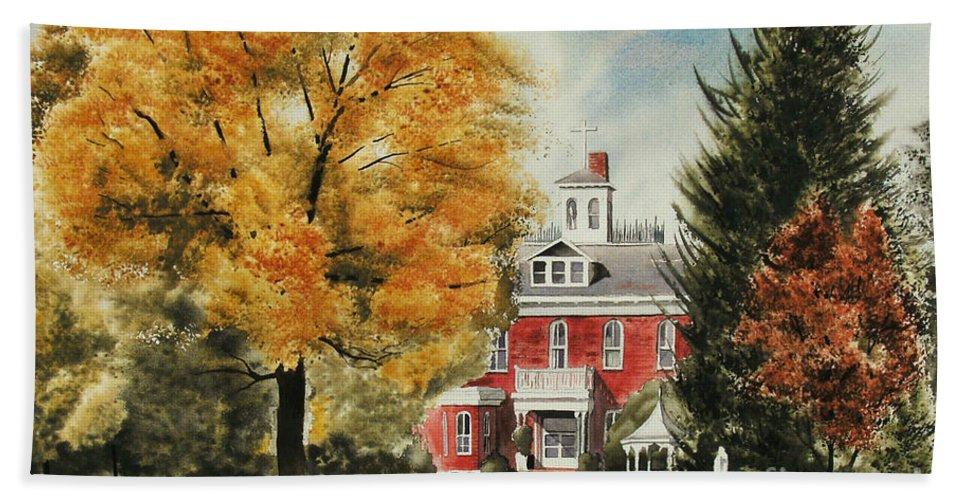 Antebellum Autumn Ironton Missouri Hand Towel featuring the painting Antebellum Autumn Ironton Missouri by Kip DeVore