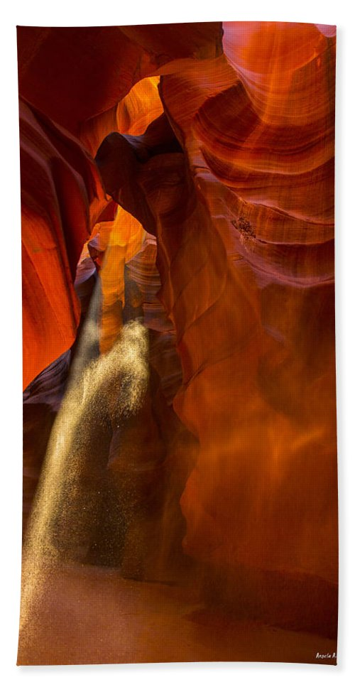 5 Canyons Hand Towel featuring the photograph Antelope Canyon - Sand In The Light by Angela Stanton