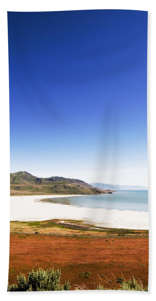 Great Salt Lake Hand Towel featuring the photograph Antelope Island And Utah Vertical by Bob Pardue