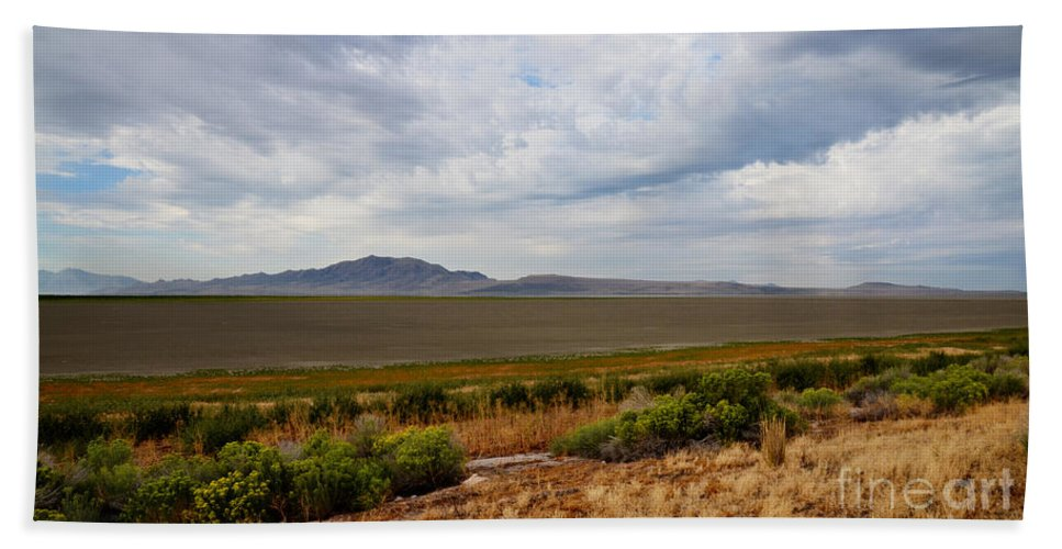 Antelope Island Hand Towel featuring the photograph Antelope Island by Donna Greene