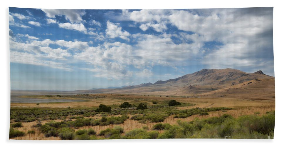 Antelope Island Hand Towel featuring the photograph Antelope Island Park Utah by Donna Greene