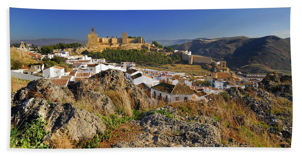 Alcazaba Hand Towel featuring the photograph Antequera Alcazaba by Guido Montanes Castillo