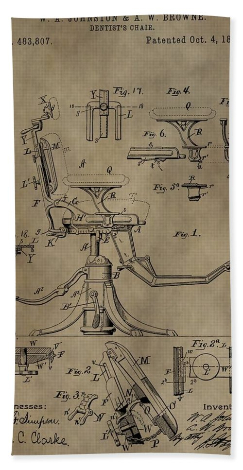 Antique Dental Chair Patent Hand Towel featuring the mixed media Antique Dental Chair Patent by Dan Sproul