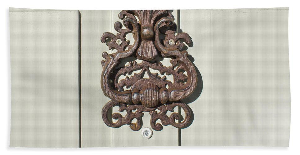 Access Hand Towel featuring the photograph Antique Door Knocker by Tom Gowanlock