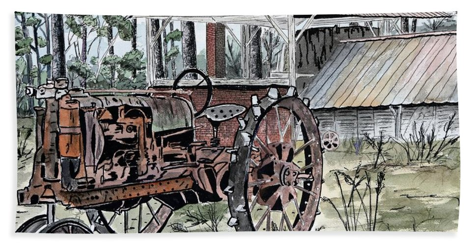 Tractor Hand Towel featuring the painting Antique Farm Tractor  by Derek Mccrea
