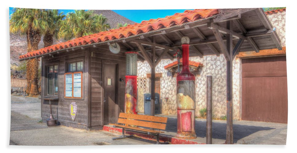 Antique Bath Sheet featuring the photograph Antique Gas Station by Heidi Smith