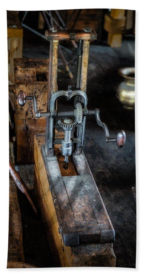 Machine Bath Sheet featuring the photograph Antique Mortising Machine by Paul Freidlund