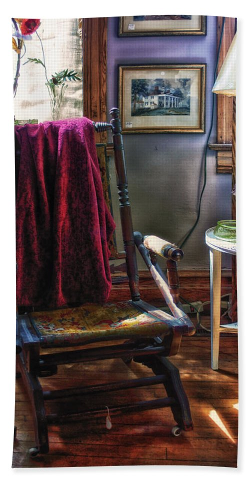 Rocking Bath Sheet featuring the photograph Antique Rocking Chair by Thomas Woolworth