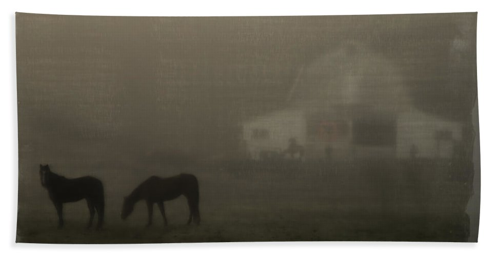 Special Effect Hand Towel featuring the photograph Antique Scene Of Horses In A Fog by Mick Anderson