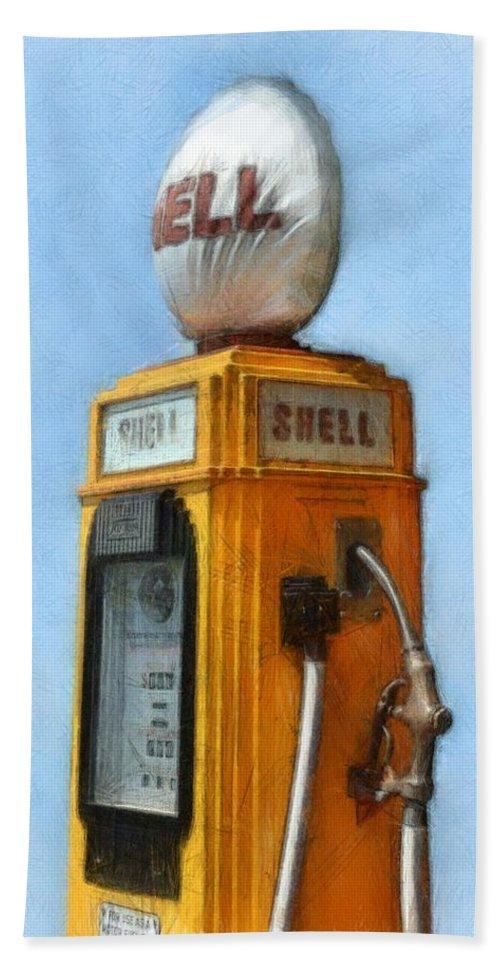 Nostalgia Bath Sheet featuring the photograph Antique Shell Gas Pump by Michelle Calkins