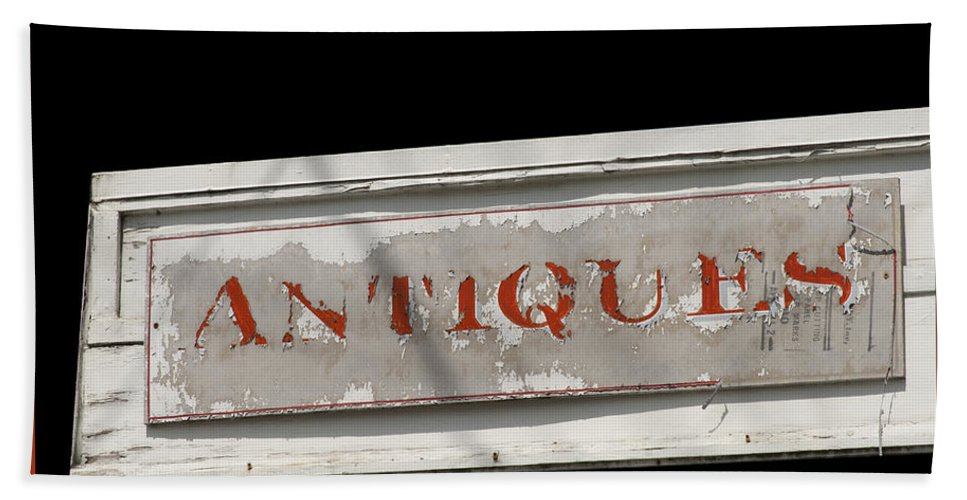 Antique Sign Bath Sheet featuring the photograph Antique Sign by Victoria Harrington