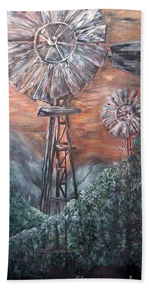 Windmill Hand Towel featuring the painting Antique Windmills At Dusk by Eloise Schneider Mote