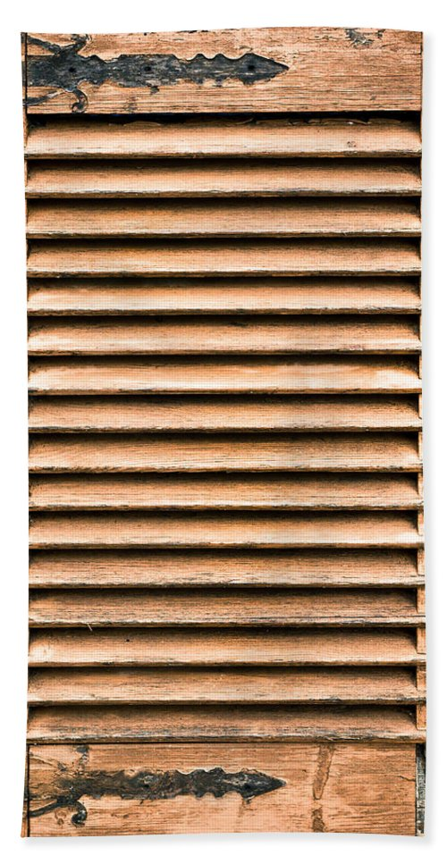 Abstract Bath Sheet featuring the photograph Antique Wooden Shutter by Tom Gowanlock