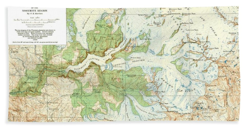 Antique Yosemite National Park Map Bath Sheet featuring the digital art Antique Yosemite National Park Map by Dan Sproul