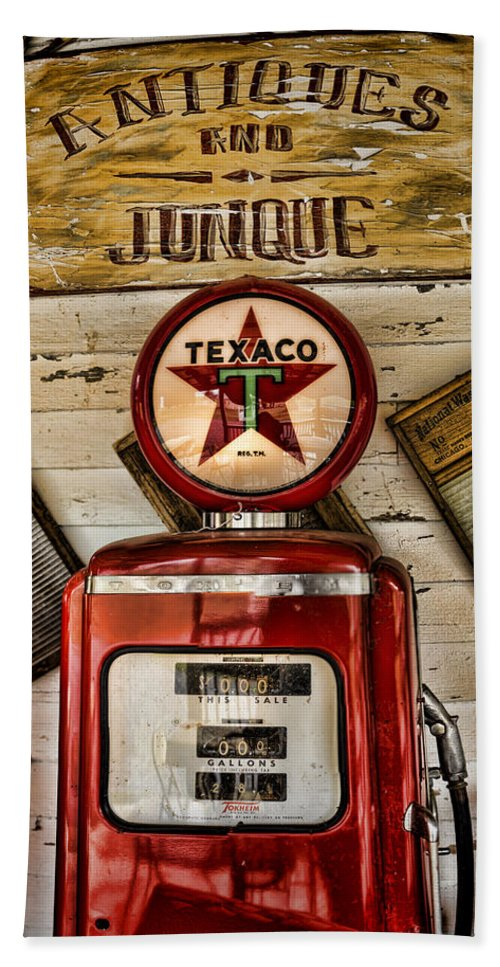 Gas Pump Bath Sheet featuring the photograph Antiques And Junque by Heather Applegate