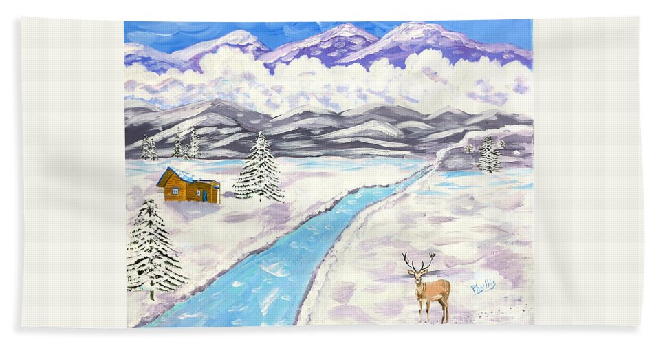 High Mountains Bath Sheet featuring the painting Antlers And Snow by Phyllis Kaltenbach