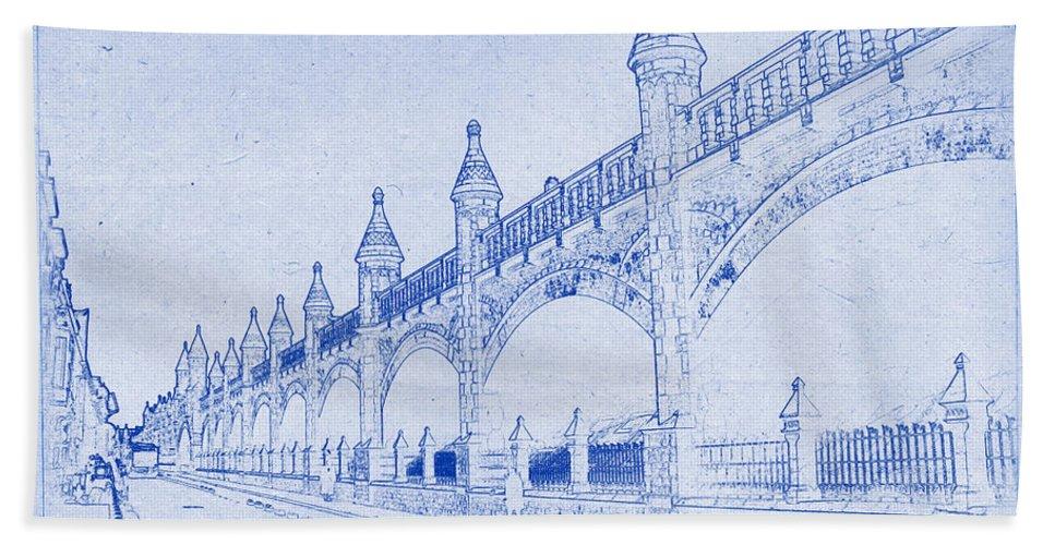 Antwerp Bath Sheet featuring the photograph Antwerp Railway Bridge Blueprint by Kaleidoscopik Photography