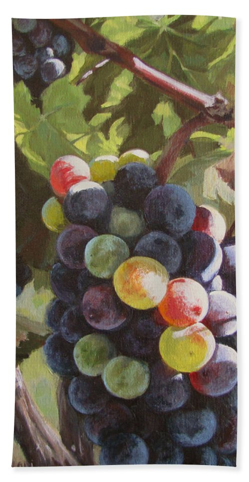 Vines Hand Towel featuring the painting Any Day Now by Karen Ilari