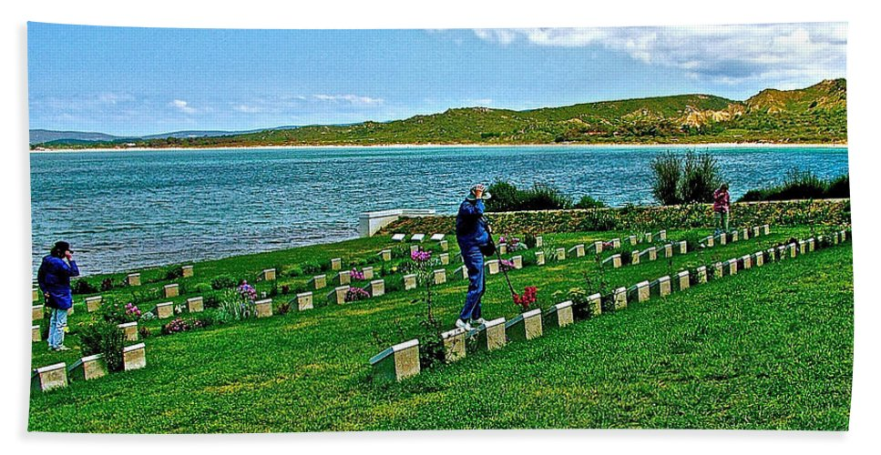 Anzak Cemetery Along The Dardenelles In Gallipolii Bath Sheet featuring the photograph Anzak Cemetery Along The Dardenelles In Gallipolii-turkey by Ruth Hager