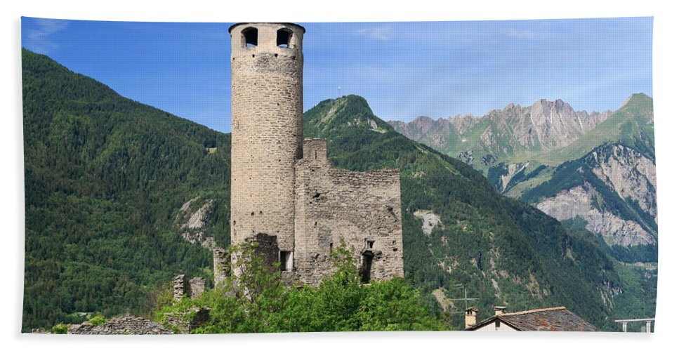 Alps Hand Towel featuring the photograph Aosta Valley - Chatelard Ruins by Antonio Scarpi