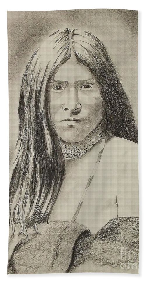 Apache Girl 1906 Hand Towel featuring the drawing Apache Girl 1906 by Lise PICHE