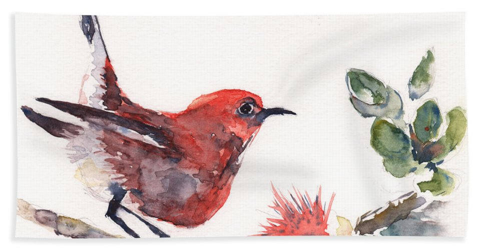 Hawaiian Bird Bath Sheet featuring the painting Apapane - Native Hawaiian Bird by Claudia Hafner