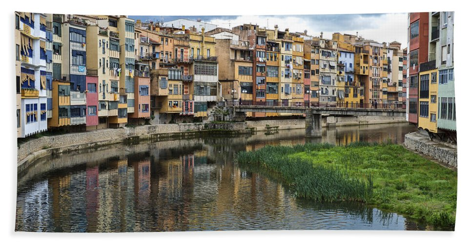 Girona Bath Sheet featuring the photograph Apartments Girona Spain by Christopher Rees