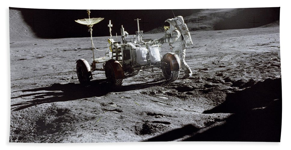Apollo 15 Lunar Rover Hand Towel featuring the photograph Apollo 15 Lunar Rover by Commander David Scott