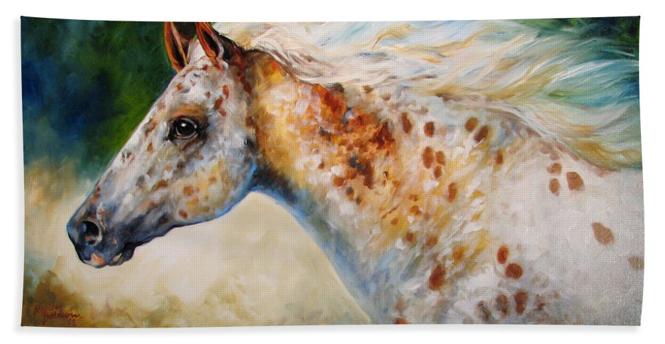 Appaloosa Bath Sheet featuring the painting Appaloosa Spirit 3618 by Marcia Baldwin
