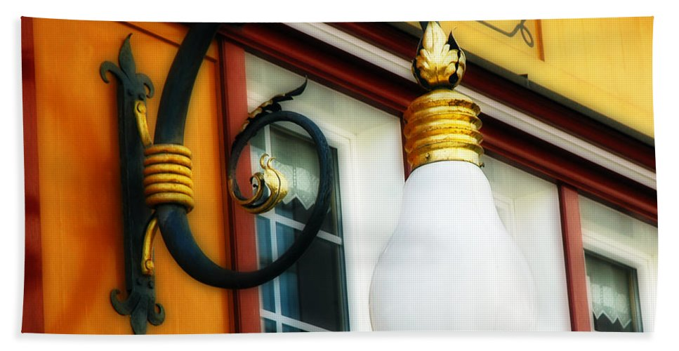 Appenzell Switzerland Lamp Shop Hand Towel featuring the photograph Appenzell's Swiss Lamp Store by Ginger Wakem