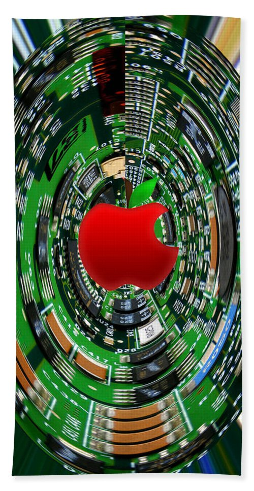 Apple Bath Sheet featuring the photograph Apple Computer Abstract by Sandi OReilly