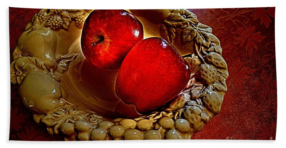 White Hand Towel featuring the photograph Apple Still Life 2 by Debbie Portwood
