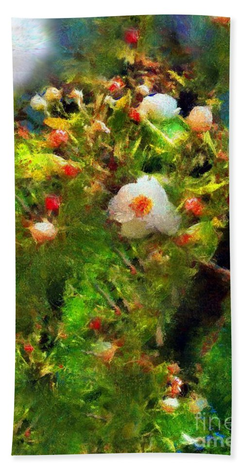 Apple Blossoms Bath Sheet featuring the painting Apple Tree In April by RC DeWinter