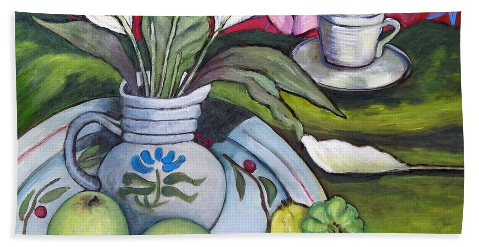 Peace-liliy Bath Sheet featuring the painting Apples And Lilies by Caroline Street