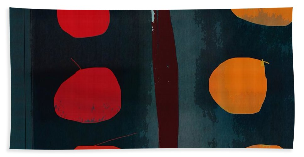 Abstract Bath Towel featuring the digital art Apples And Oranges by John Allen