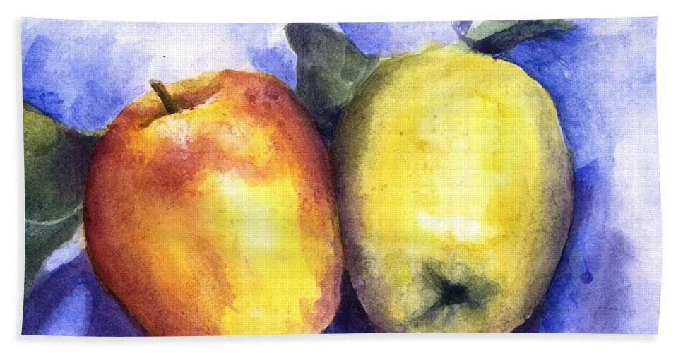 Apples Hand Towel featuring the painting Apples Paired by Maria Hunt