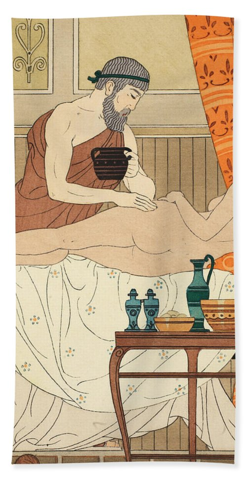 Medical Scene Hand Towel featuring the painting Application Of White Egyptian Perfume To The Hip by Joseph Kuhn-Regnier