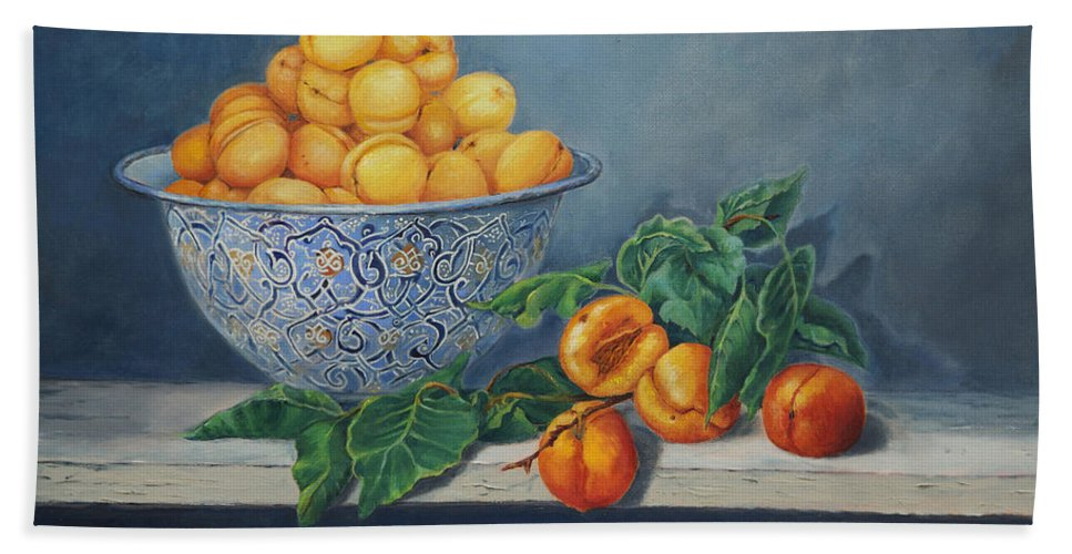 Fruit Bath Sheet featuring the painting Apricots And Peaches by Portraits By NC
