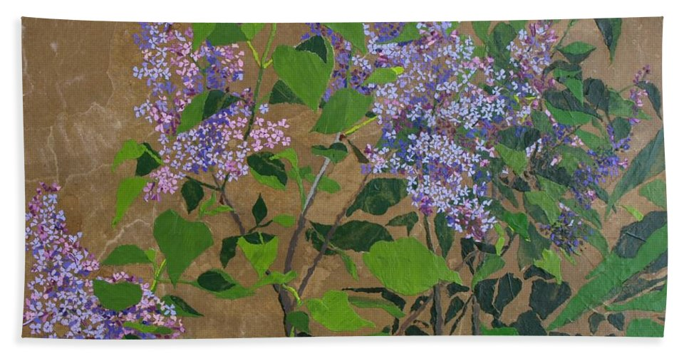 Lilacs Bath Sheet featuring the painting April Lilacs by Leah Tomaino