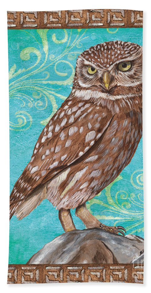 Owl Hand Towel featuring the painting Aqua Barn Owl by Debbie DeWitt