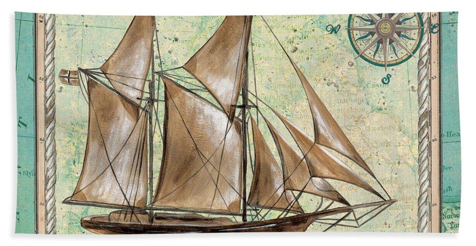 Aqua Bath Towel featuring the painting Aqua Maritime 2 by Debbie DeWitt