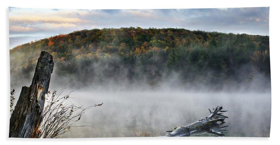 Sunrise Fog Hand Towel featuring the photograph Sunrise Fog Landscape by Christina Rollo