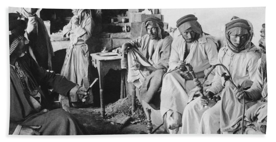 1900 Hand Towel featuring the photograph Arab Men At Leisure by Underwood Archives