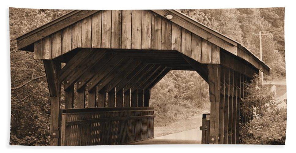 Arabia Mountain Bath Sheet featuring the photograph Arabia Mountain Covered Bridge by Tara Potts