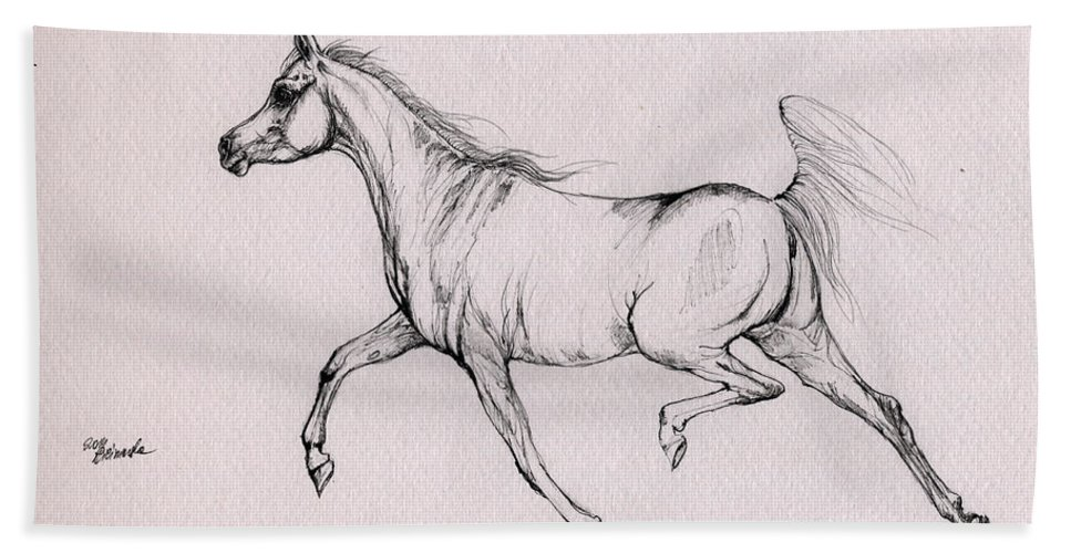 Horse Hand Towel featuring the drawing Arabian Horse 2014 02 25b by Angel Ciesniarska