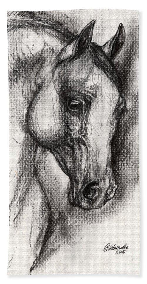 Hand Towel featuring the drawing Arabian Horse Drawing 12 by Angel Ciesniarska