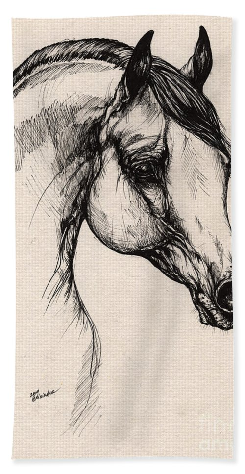 Horse Hand Towel featuring the drawing Arabian Horse Drawing 24 by Angel Ciesniarska
