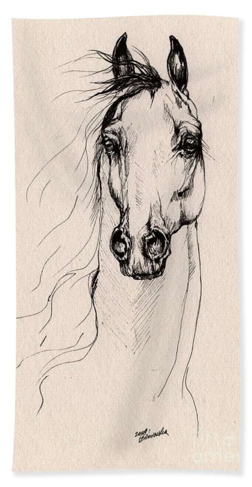 Horse Bath Towel featuring the drawing Arabian Horse Drawing 25 by Angel Ciesniarska