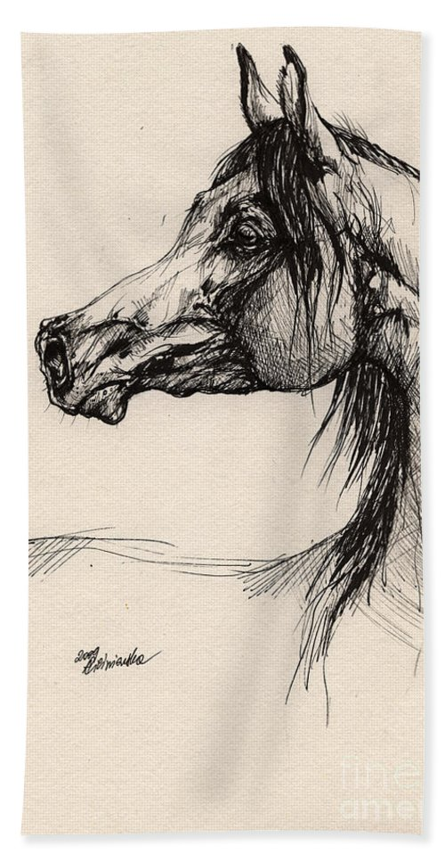 Horse Drawing Hand Towel featuring the drawing Arabian Horse Drawing 26 by Angel Ciesniarska